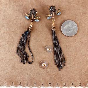Jewelry - Blue Gray Chain Tassels & Crystals Gold Tone Studs